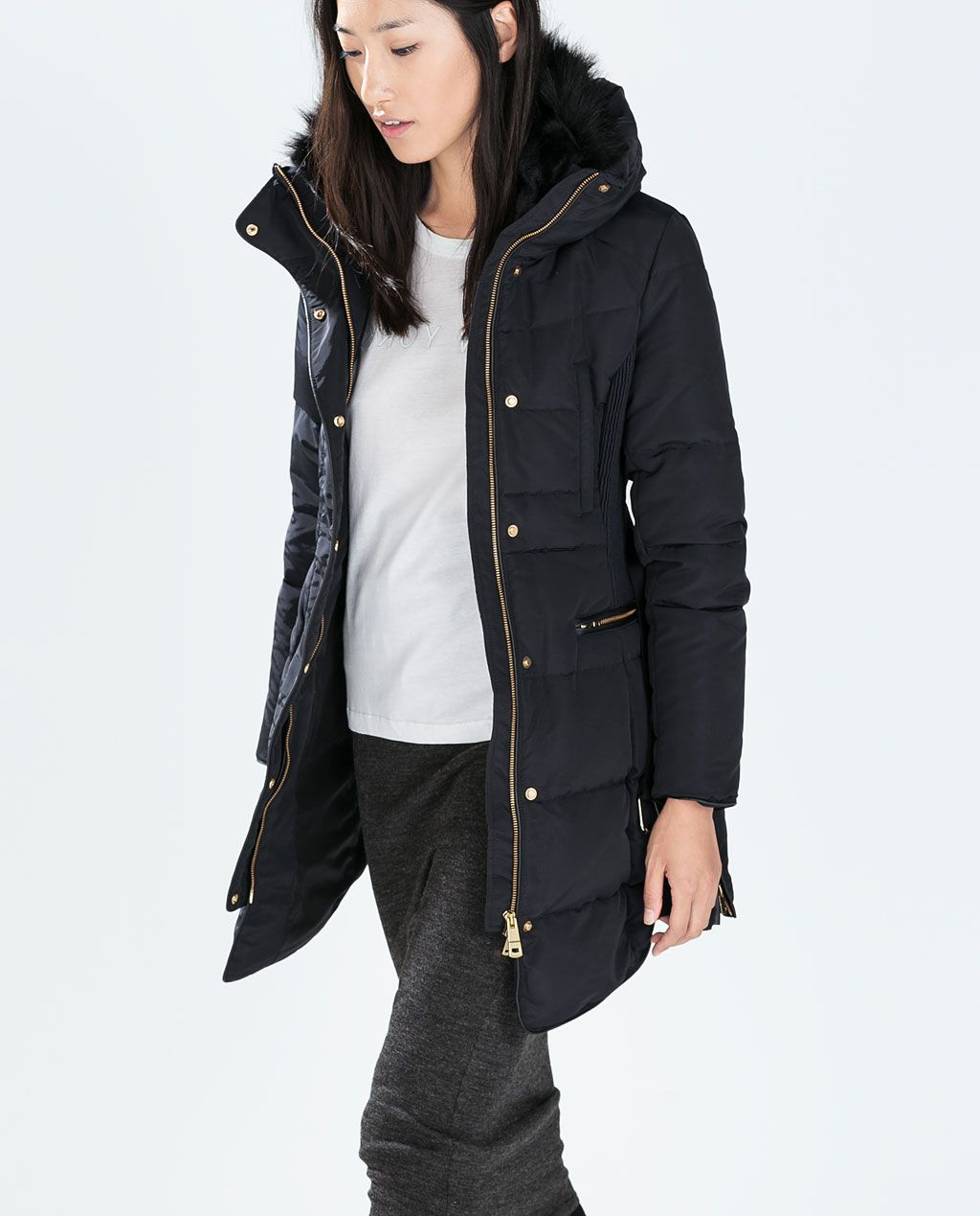 5689c929a0c27 LONG DOWN ANORAK WITH FUR COLLAR from Zara | hot bod | Fur collars ...