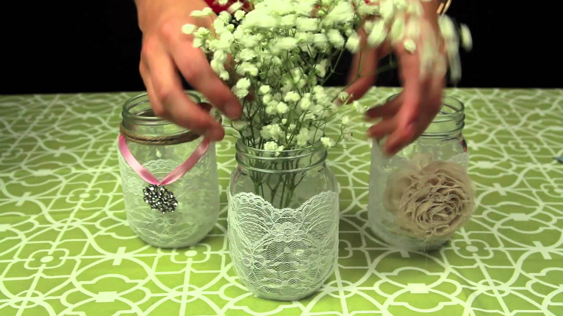 Ways To Decorate Glass Jars How To Decorate Mason Jars For A Wedding  Centerpiece  Pinterest