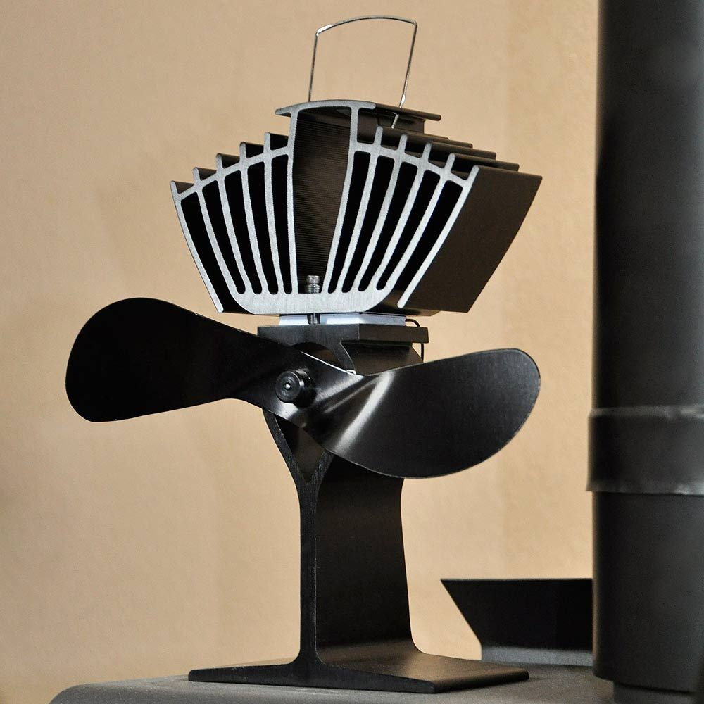 Ecofan Airmax Heat Powered Wood Stove Fan Black Colored Blades