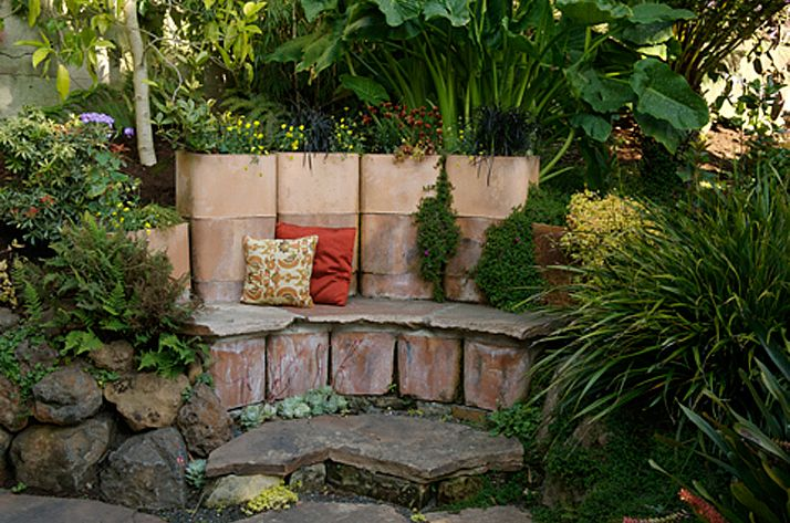 Terra Cotta Chimney Flue Planter And Bench Small Backyard Design Pinterest Garden Garden Inspiration