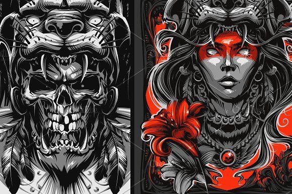 Jaguar Warrior Graphic Illustration Aztec Warrior Warrior