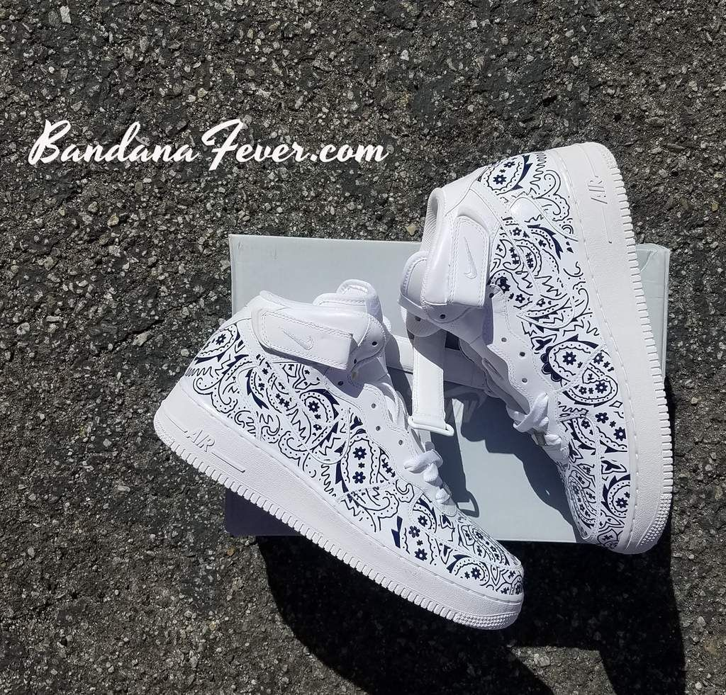 Navy Bandana Custom Nike Air Force 1 Mid Top Shoes Wht