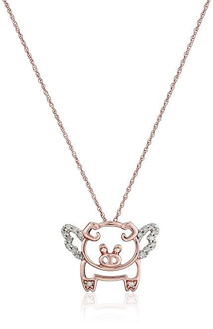Gold Diamond Flying Pig Pendant Necklace (1/10 cttw, I-J Color, I2-I3 Clarity)