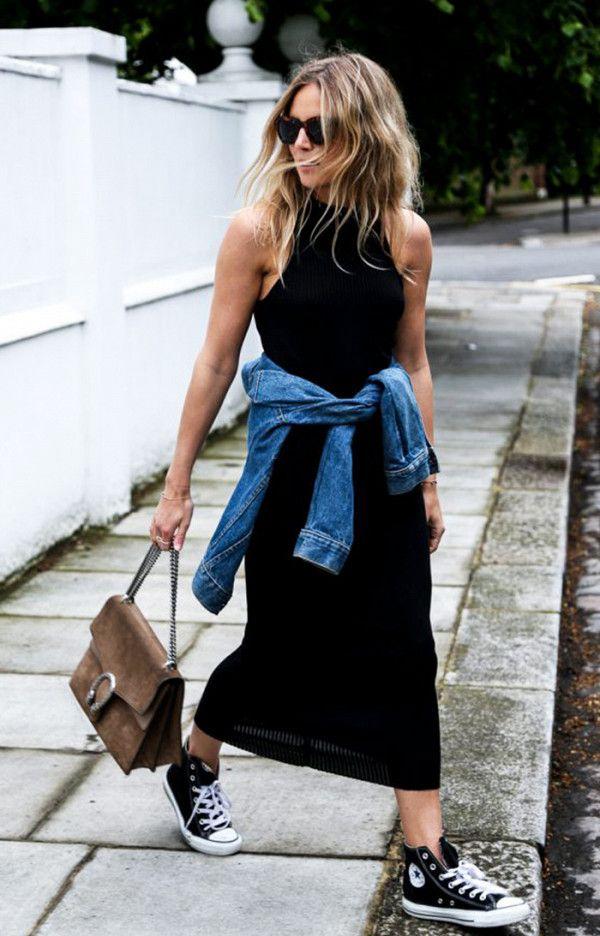 Black ribbed dress + denim jacket + Converse