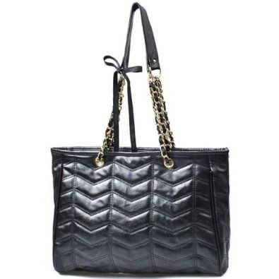 de3003373bfd KAIL Oversized Black Quilted Zigzag Double Handle Chain Shopper Tote  Shoulder Bag Handbag Purse  22.50