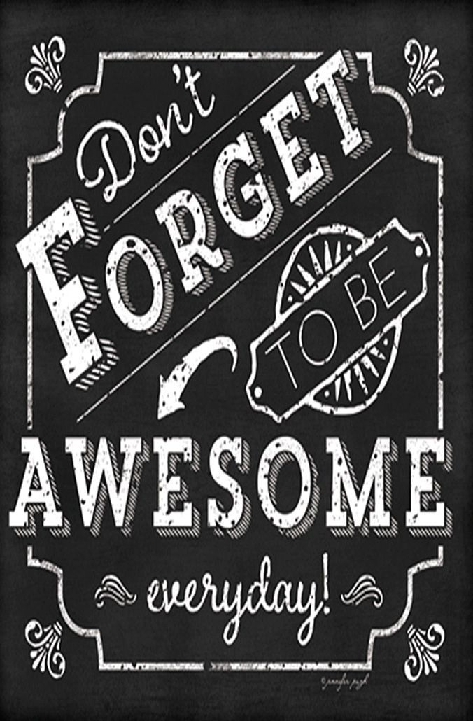 'Be Awesome' Inspirational Chalkboard Wall Sign