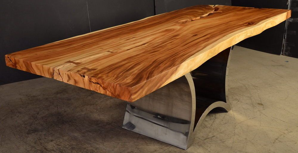96 Long Dining Table Live Edge 1 Slab Acacia Wood Cool Steel Base