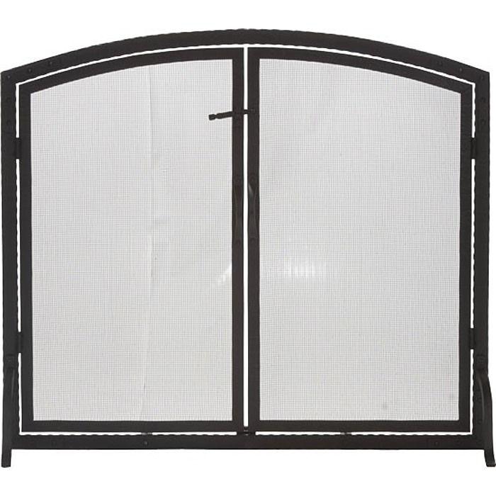 De Vielle 3 Panel Fire Screen With Doors In Matt Black DEF977909 ...