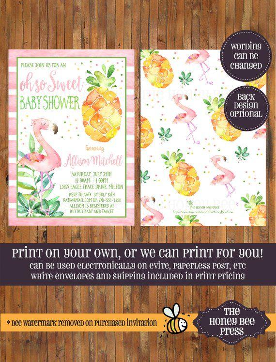 printable watercolor pineapple luau birthday invitation
