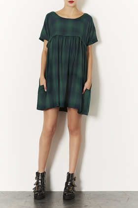 ENZYME CHECK SMOCK DRESS
