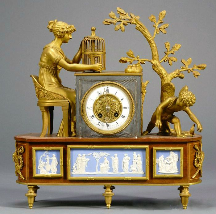 Wedgwood-mounted Ormolu, Wood, and Cut Glass Figural Mantel Clock, England and France, mid-19th century,