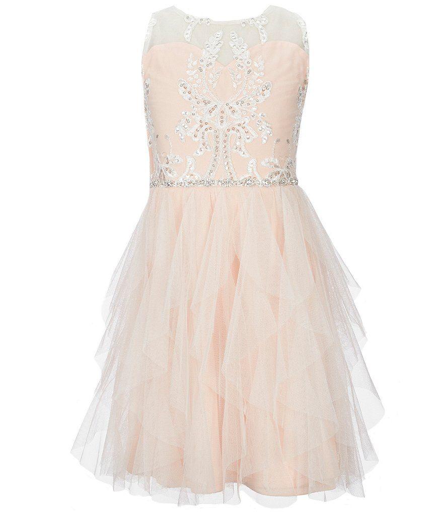 Tween diva big girls embellished lace fit u flare dress in