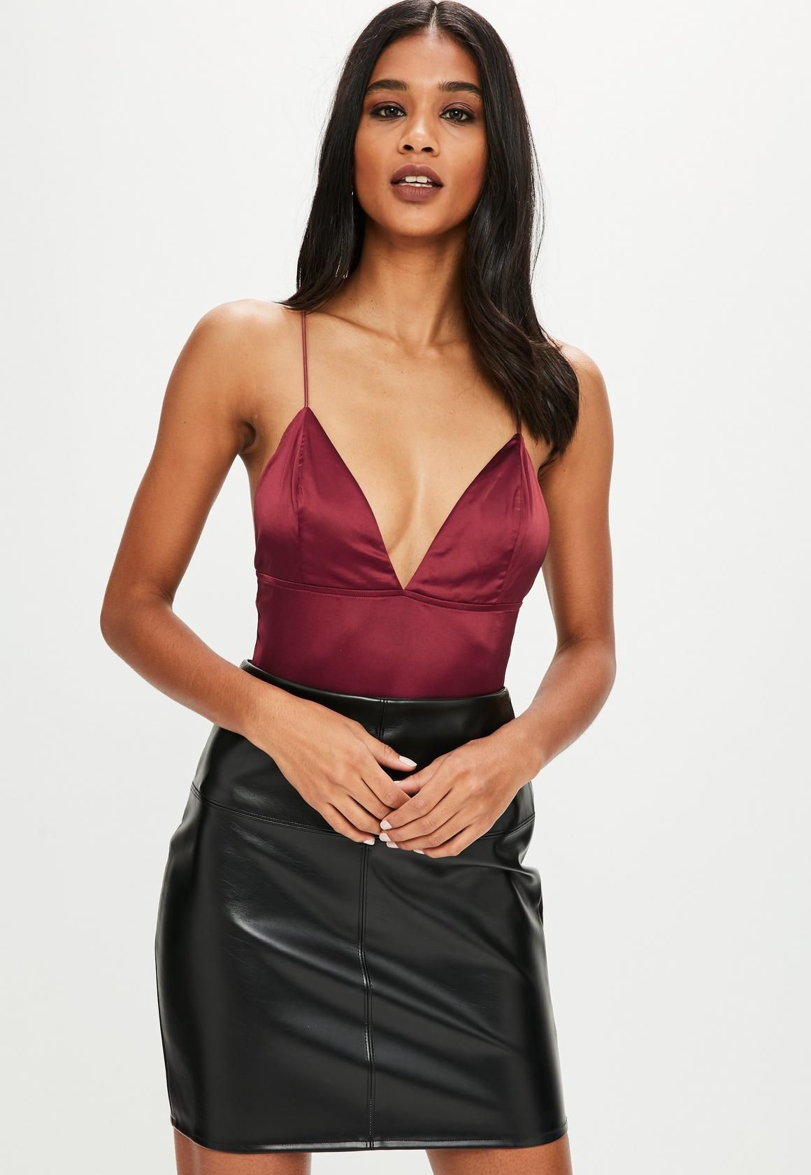 Missguided - Burgundy Plunge Satin Bodysuit  b7acd09a6