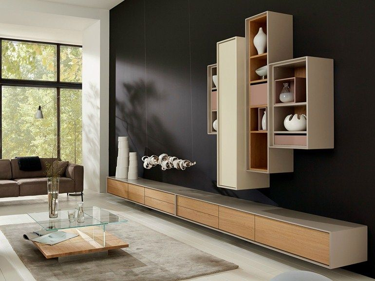 sectional wall mounted storage wall scopia scopia collection by h lsta werke h ls tv commode. Black Bedroom Furniture Sets. Home Design Ideas
