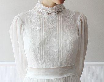 Custom Made White Tea Length Lace Vintage Victorian Style Wedding Dress