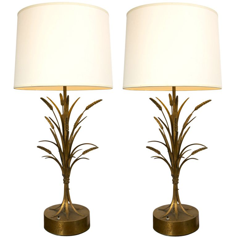 Pair Of Gilt Wheat Sheaf Table Lamps 1stdibs Com Lamp Table Lamp I Love Lamp