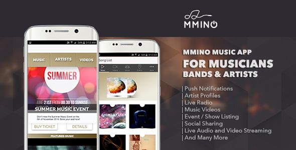 Mmino - Android Music Band App . Mmino is a Android music band app that can be adopted by dependant and independent record labels, music bands and individual