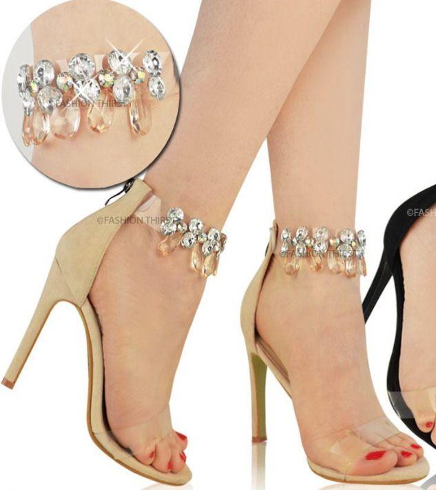 da65e4aec1a Womens Ladies Perspex Strap Ankle Embellished Stilettos high Heels Sandals  Size