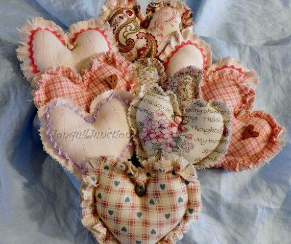 shabby chic hearts, primitive hearts, fabric heart, bowl ...