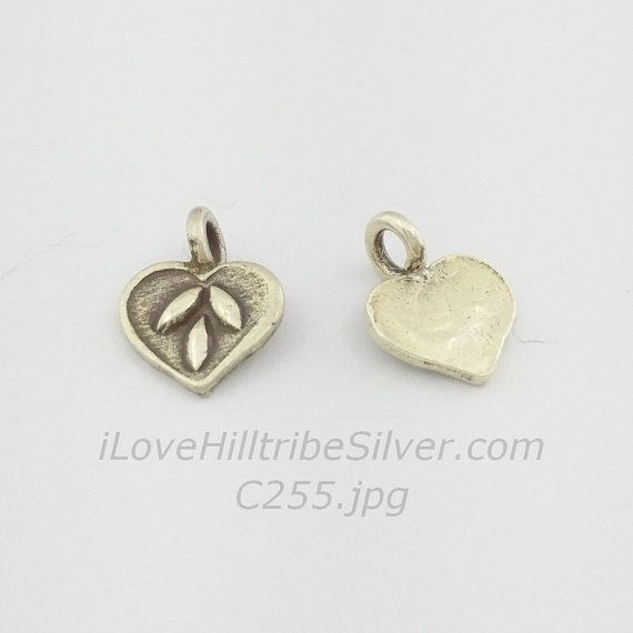 1x Thai Karen Hill Tribe Silver Oxidized Heart 1-Sided Flat