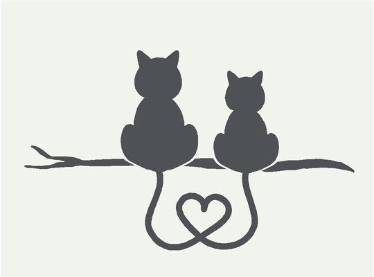 tatouage symboles amours avec 2 chats assis de dos et queues melees