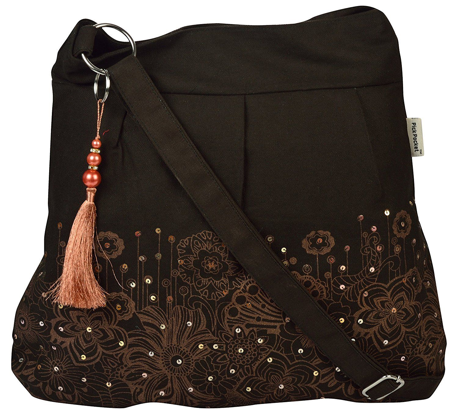1a03a3e4ece8 Buy Pick Pocket black copper and golden printed canvas Sling bag Online at  Low prices in