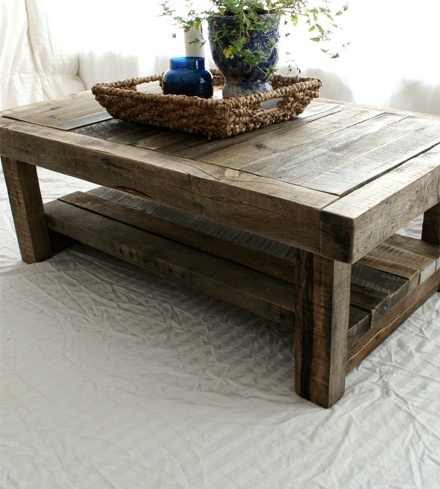 Reclaimed Wood Coffee Table On Photo of Design