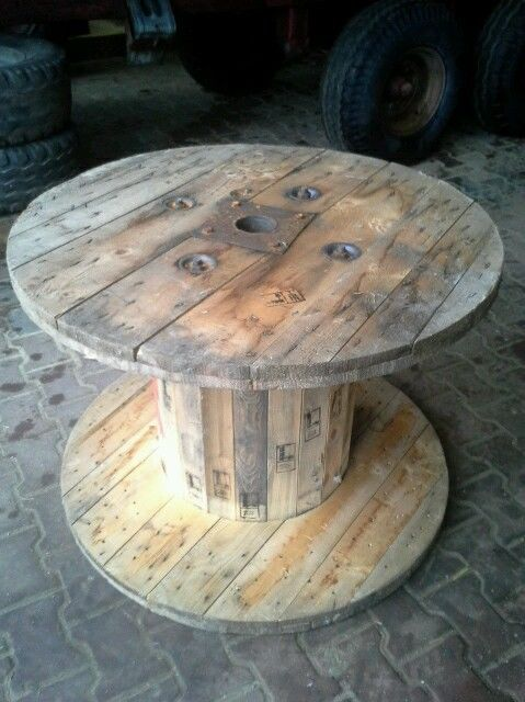 holz kabeltrommel tisch hocker inspiration cafe. Black Bedroom Furniture Sets. Home Design Ideas
