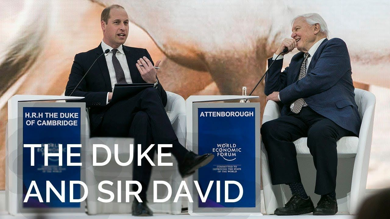 The Duke of Cambridge in conversation with Sir David