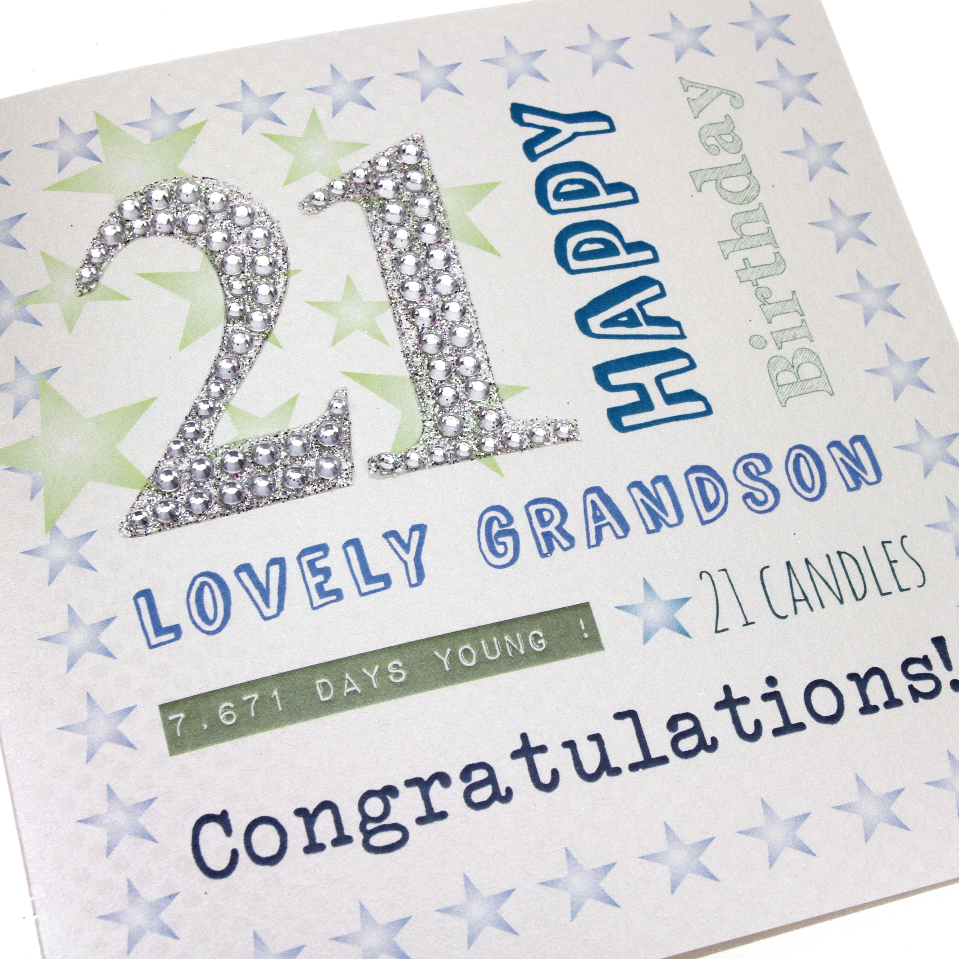 Handmade Men s 21st Birthday Card Stars Blue Green Diamanté