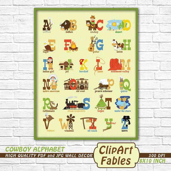 COWBOY alphabet Wall Decor, Nursery wall art, western baby, Alphabet ...