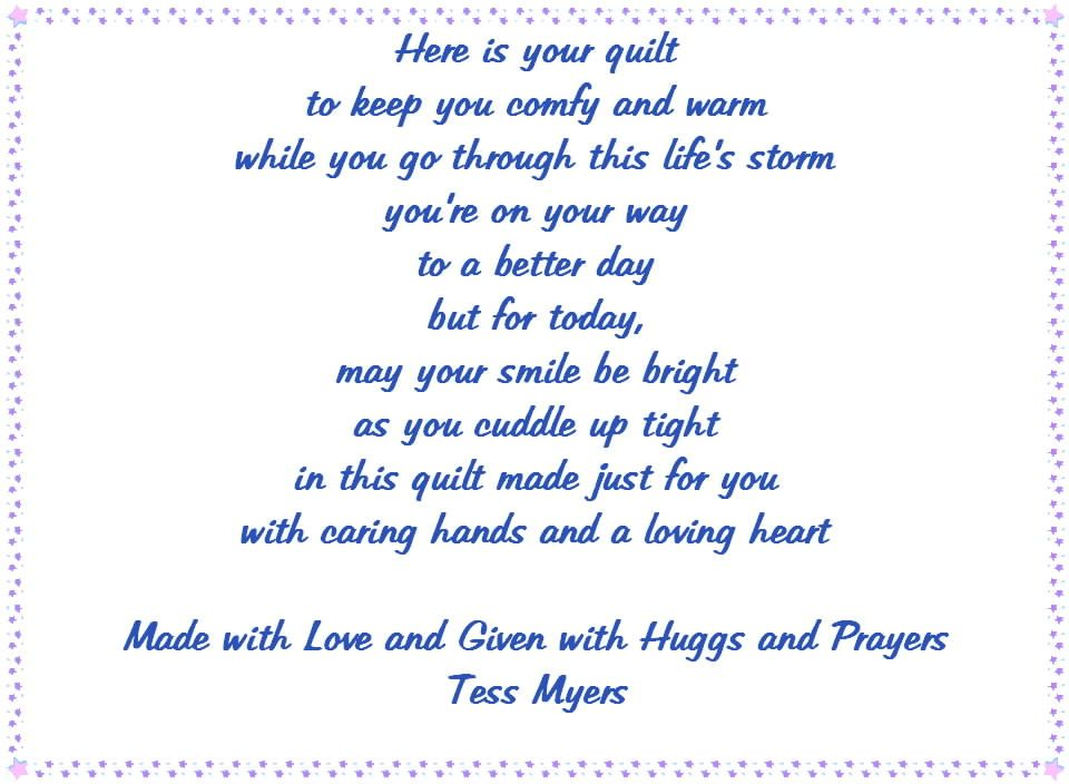 I wrote this poem to go on the quilts I make for giving. If you ... : memorial quilt poems - Adamdwight.com
