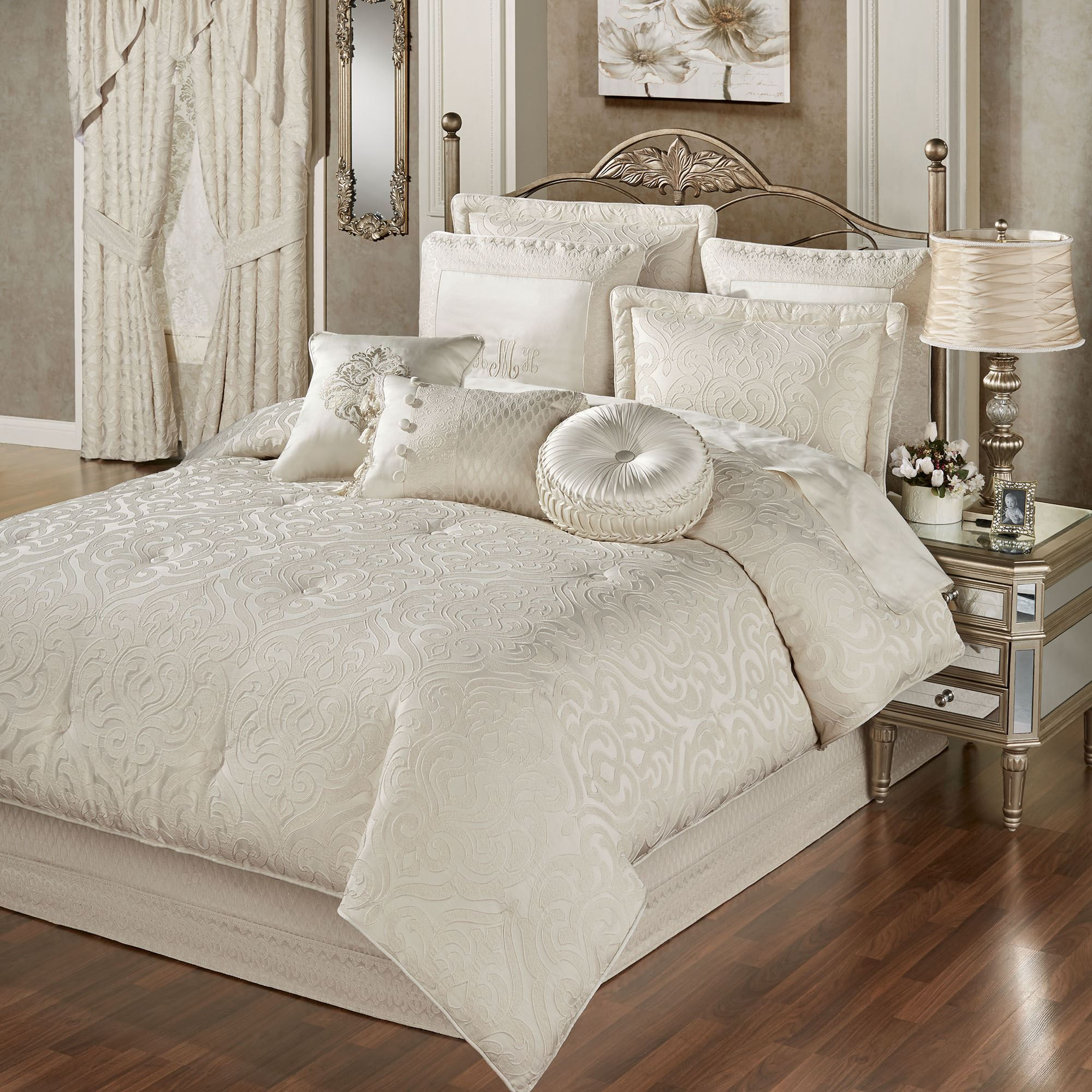 Seraphina Ivory Damask Comforter Bedding Luxury Bedding Beautiful Bedding Sets Bed Linens Luxury