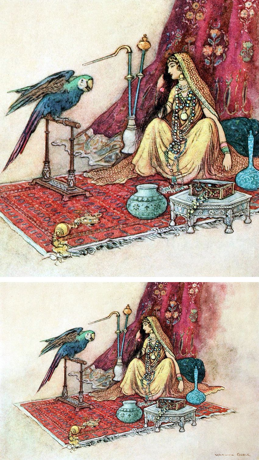 """What princess ever puts only one ruby in her hair? From 'The Origin of Rubies'. """"Folk Tales of Bengal"""" (1912) illustrated by Warwick Goble"""