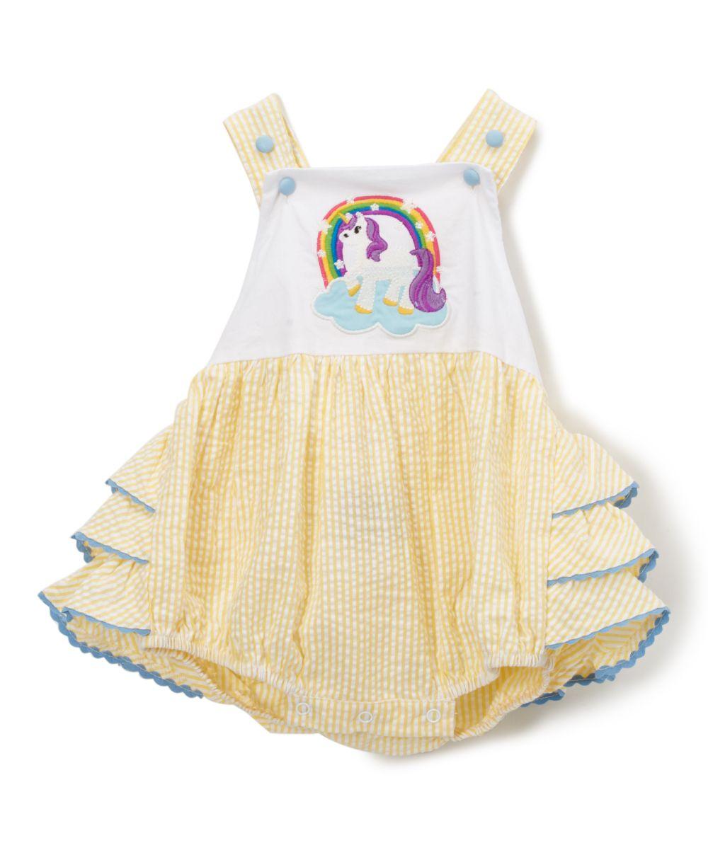 b40c284abbb6 Yellow Seersucker Unicorn Bubble Romper - Infant   Toddler