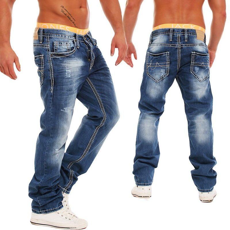 Amica Denim Herren Jeans MOD-5010 Dicke Nähte Clubwear Designer Hose Blau 6f2ff98cc5