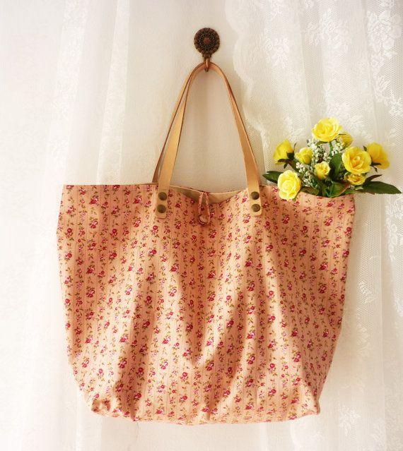 Amor Cottage Chic Tote Bag Pink Floral Cotton Bag by Amordress, $29.00