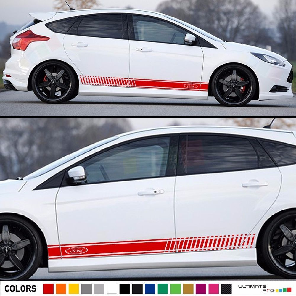 Sports Racing Stripe Graphic Stickers Truck Car Body Side Door Vinyl Decals RS