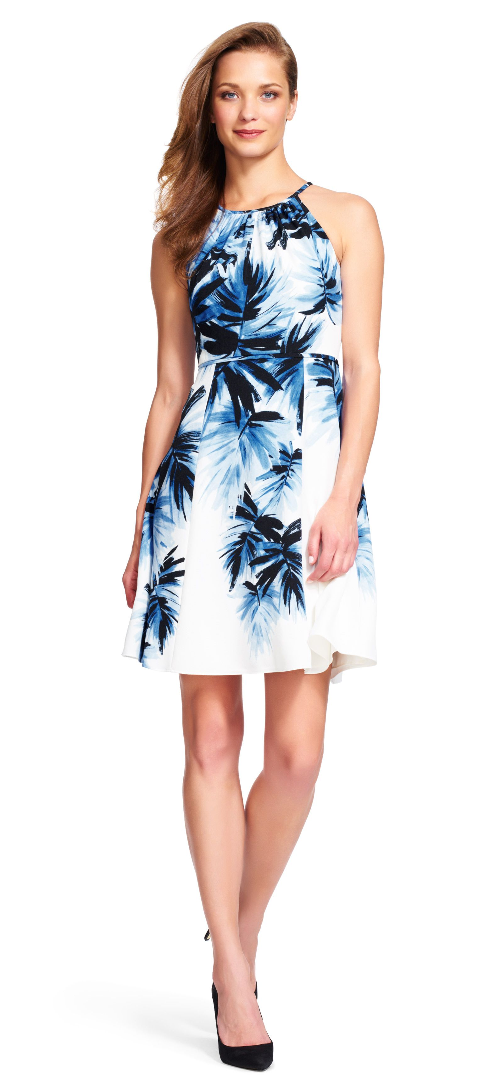 2da9ad887f8a Adrianna Papell painted palms fit and flare halter dress