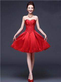$ 70.19 Ericdress Beautiful  Appliques Sweetheart Short Bridesmaid Dress