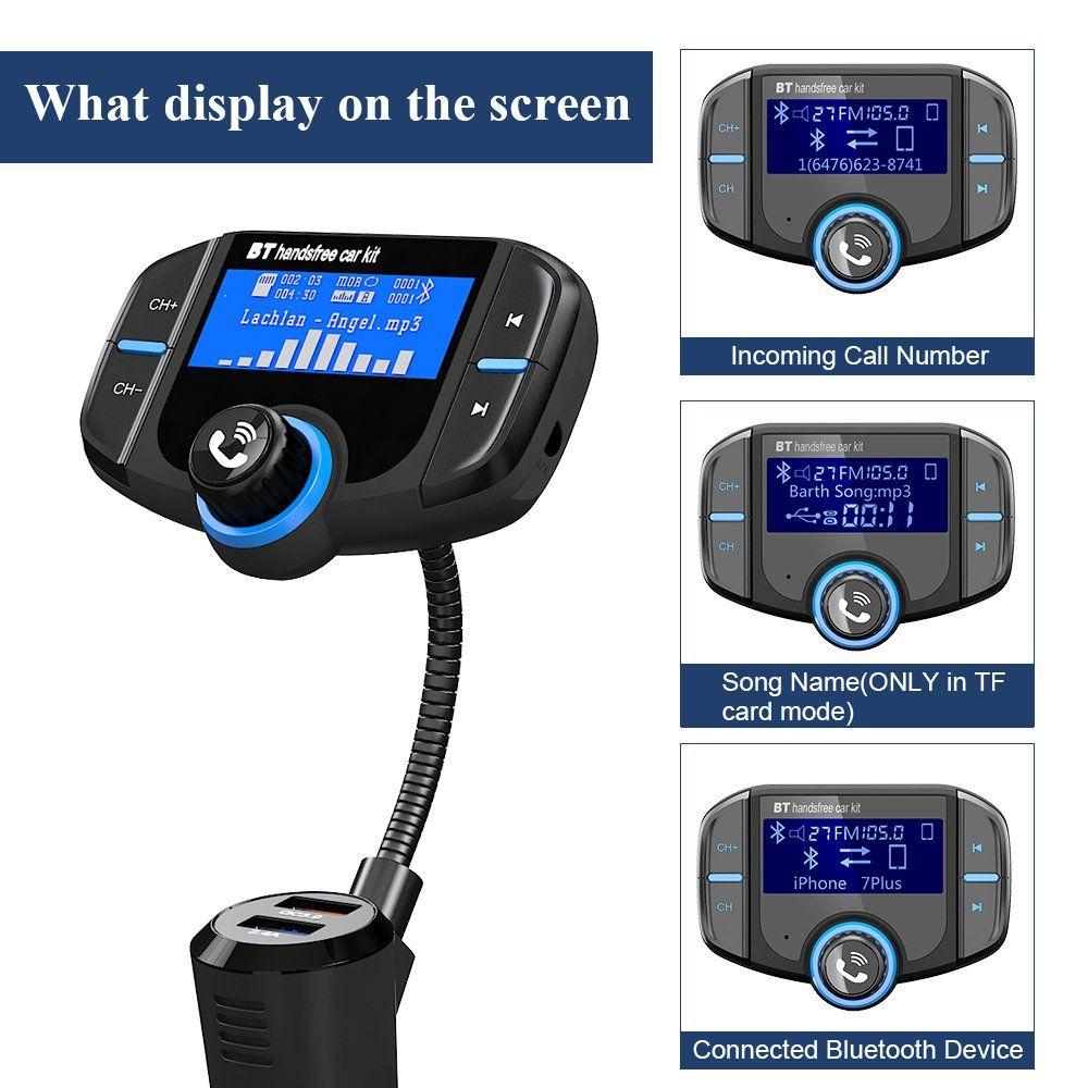 Upgraded Version FM Transmitter Wireless Radio Adapter Hands-free Car Kit.