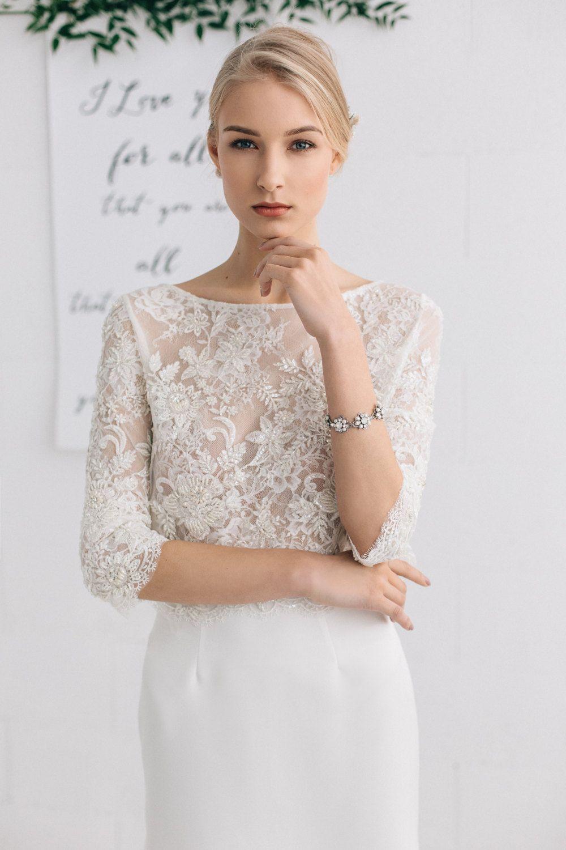 ea3517de6546e Bridal Separates Top, Wedding Top , Lace Top, Beaded Wedding Top ...
