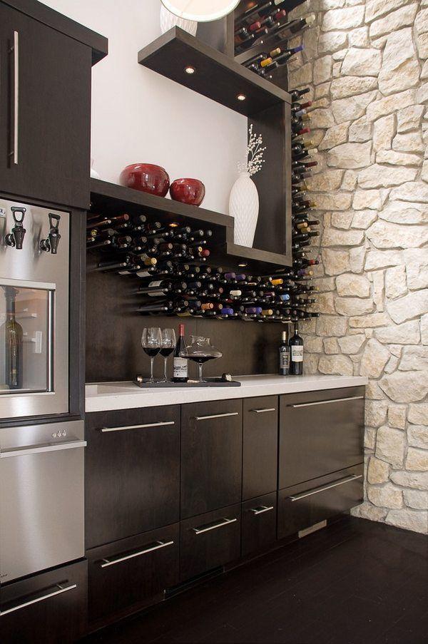 Wall Mounted Wine Racks Ideas Modern Kitchen Storage