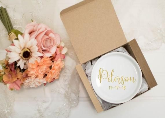 wedding ring dish last name ring holder bridal shower gifts etsy wedding unique bridal shower gift ideas wedding date his and hers