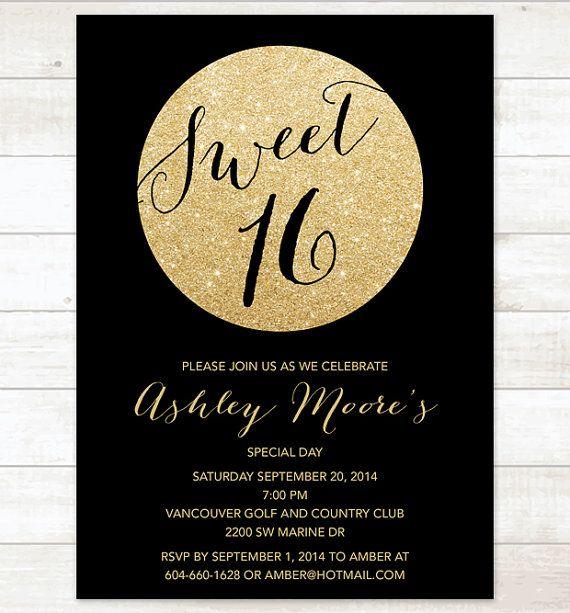 Black gold sweet 16 birthday invitation, sweet sixteen invitation - birthday invitation for adults