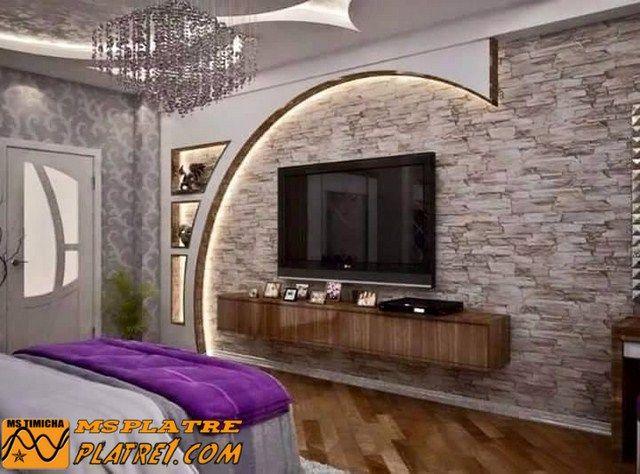 Meuble Tv En Placoplatre In 2020 Ceiling Design Bedroom Living Room Decor Inspiration Plafond Design
