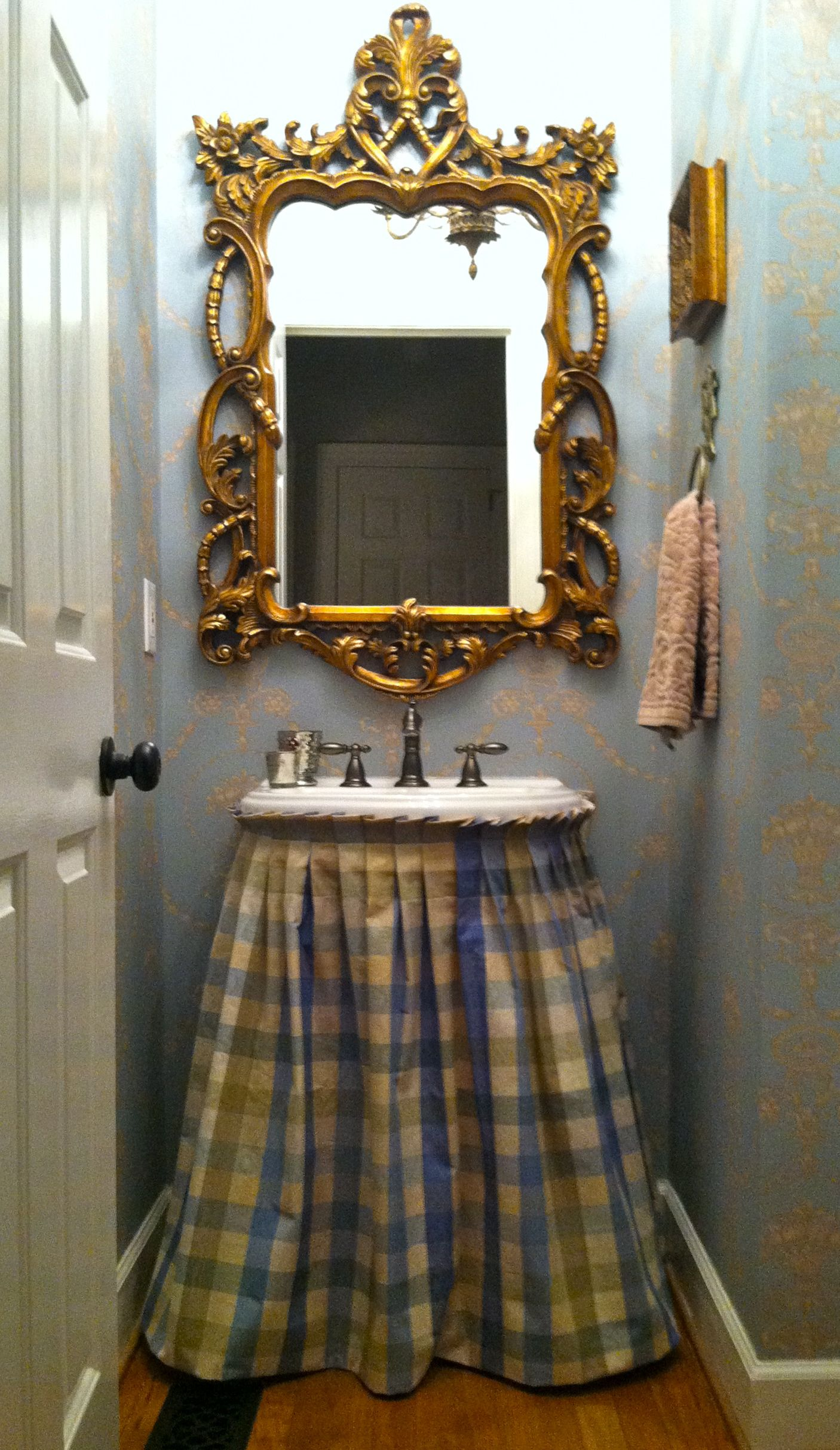 fabric sink skirts - Google Search | Sink skirt, Powder ...