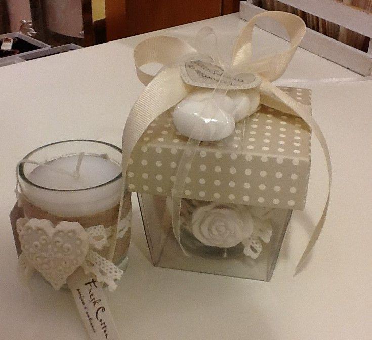 Extrêmement bomboniera shabby candela decorata con iuta e gessetto profumato  GH13