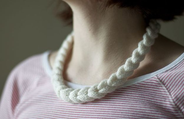 Knit a braided necklace. | 34 Adorable Things To Do With Leftover Bits Of Yarn