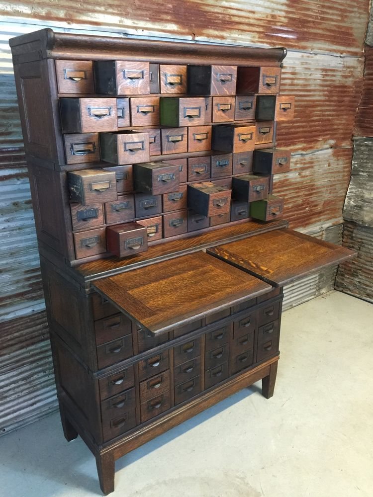 Antique Oak 84 Drawer Globe Wernicke Stacking File Cabinet